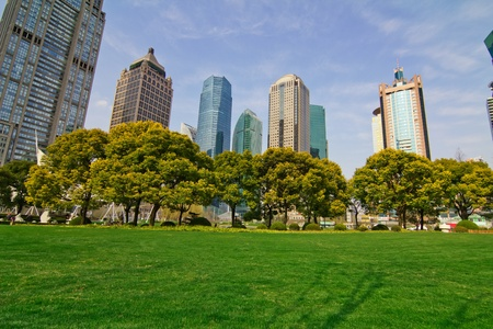 city park with modern building background in shanghai Stock Photo - 13514568