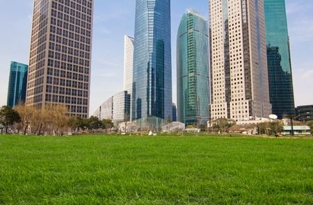 city park with modern building background in shanghai Stock Photo - 13514539