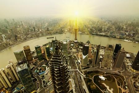China Shanghai the huangpu river and Pudong skyline at sunset. photo