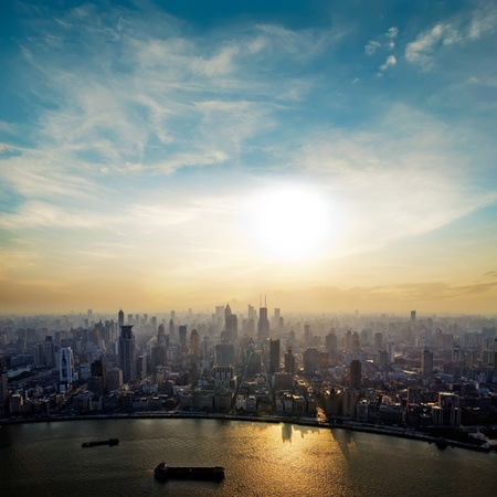 city center: modern city at sunrise,Shanghai skyline. Stock Photo