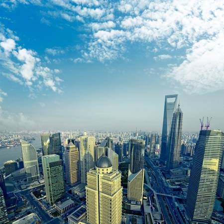 •China Shanghai the huangpu river and Pudong skyline at sunset. photo