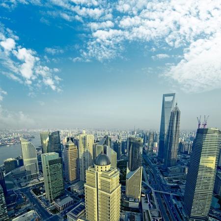 china business: •China Shanghai the huangpu river and Pudong skyline at sunset. Stock Photo