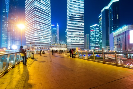 Beautiful Shanghai Pudong skyline at dusk in Shanghai, China photo