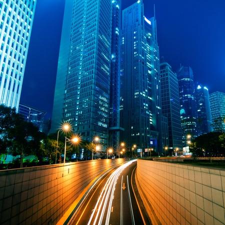 Beautiful Shanghai Pudong skyline at dusk in Shanghai, China Stock Photo