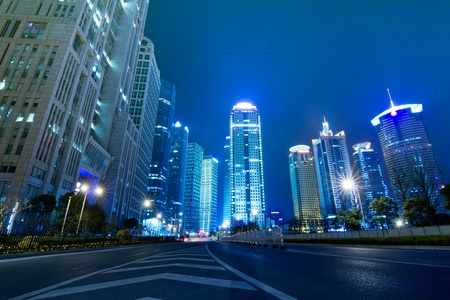 Beautiful Shanghai Pudong skyline at dusk in Shanghai, China photo