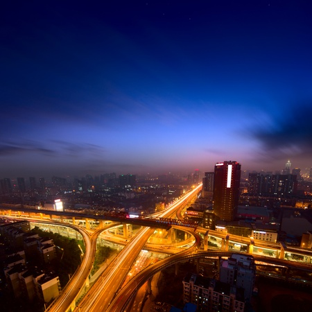junction: A road junction at evening in changsha ,china Stock Photo