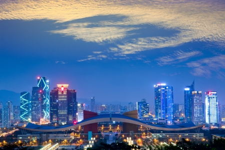 night scene of shenzhen special economic zone,China