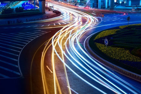 light trails on the street in shanghai ,China