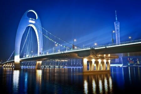 Zhujiang River and modern building of financial district at night in guangzhou china photo