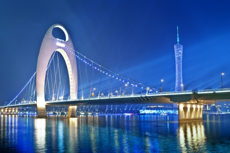 Zhujiang River and modern building of financial district at night in guangzhou china photo