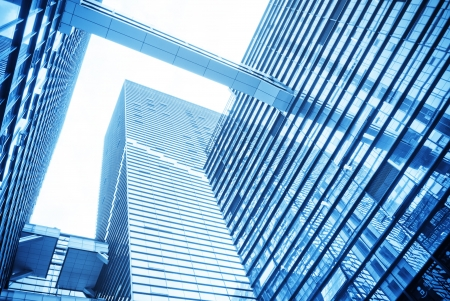 modern glass silhouettes of skyscrapers photo