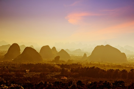 Beautiful Karst mountain landscape in Yangshuo Guilin, China photo
