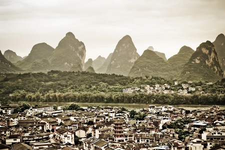 overlooking the yangshuo county in guilin city,China photo