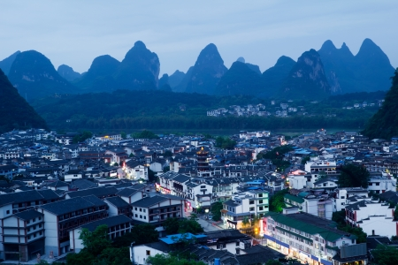 overlooking the yangshuo county in guilin city,China Stock Photo - 13756509