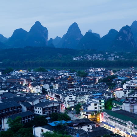 overlooking the yangshuo county in guilin city,China Stock Photo - 13744997