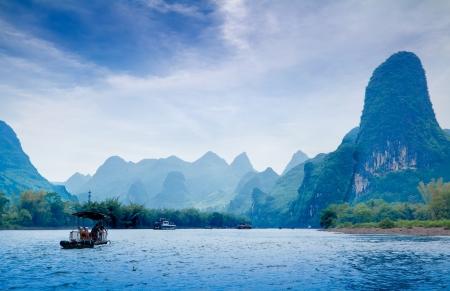 karst: Beautiful Yu Long river Karst mountain landscape in Yangshuo Guilin, China Editorial