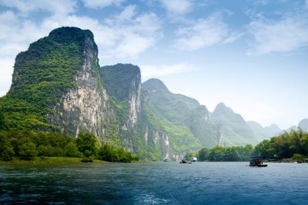 china landscape: Beautiful Yu Long river Karst mountain landscape in Yangshuo Guilin, China Stock Photo
