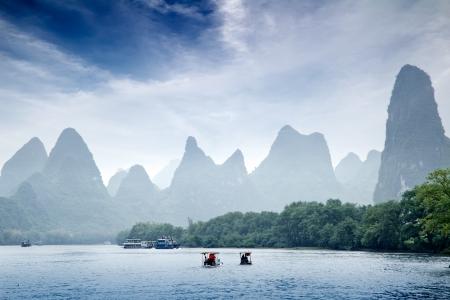 bamboo tree: Beautiful Yu Long river Karst mountain landscape in Yangshuo Guilin, China Stock Photo
