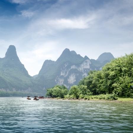 Beautiful Yu Long river Karst mountain landscape in Yangshuo Guilin, China Stock Photo - 13762741