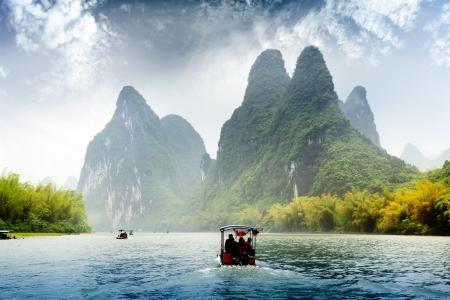 Beautiful Yu Long river Karst mountain landscape in Yangshuo Guilin, China Editöryel