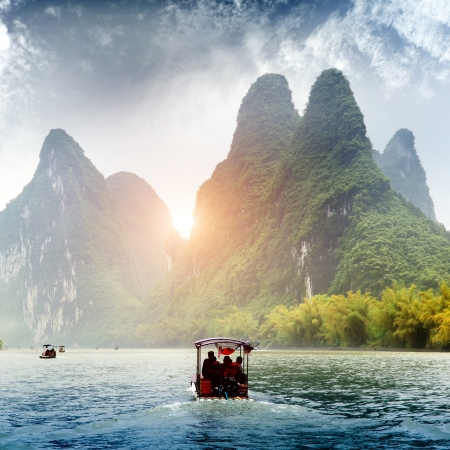 Beautiful Yu Long river Karst mountain landscape in Yangshuo Guilin, China Editorial