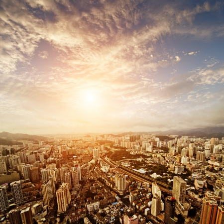 guangdong: Aerial view of  chinese city at sunset Stock Photo