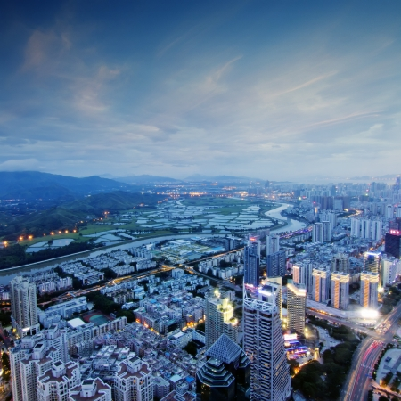 Aerial view of  chinese city at sunset Stock Photo