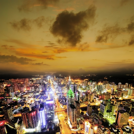crowded street: Aerial view of  chinese city at sunset Stock Photo