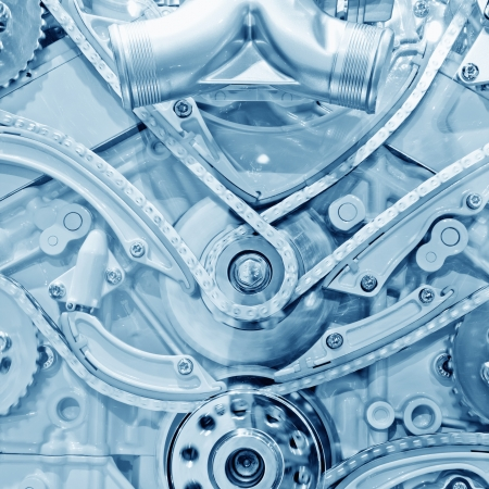 Car engine part - Close up image of an internal combustion engine