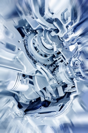 Car engine part - Close up image of an internal combustion engine photo