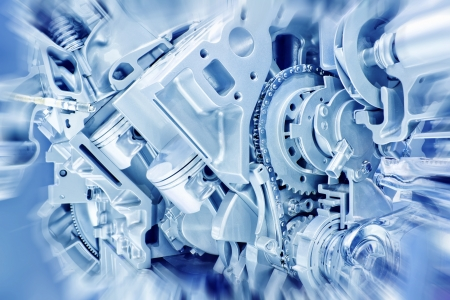 automotive industry: Car engine part - Close up image of an internal combustion engine