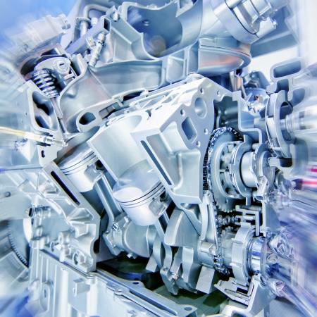 diesel engine: Car engine part - Close up image of an internal combustion engine