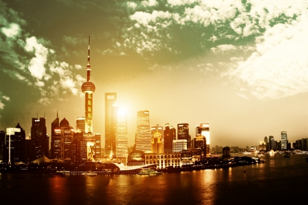 shanghai china: beautiful night view of shanghai skyline