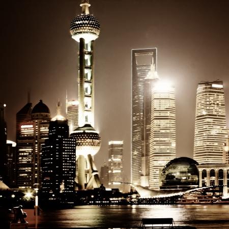 perlas: hermosa vista nocturna de Shanghai skyline