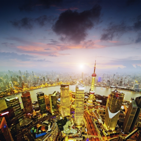 aerial view of shanghai at night from jinmao building photo