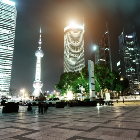 beautiful night scene in shanghai financial center