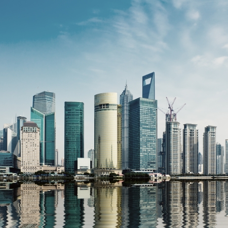 modern city,shanghai skyline in daytime photo