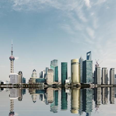 modern city,shanghai skyline in daytime