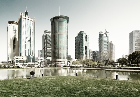 freedom tower: city park with modern building background in shanghai