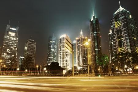 beautiful night view of shanghai finance and trade zone photo
