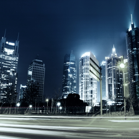 beautiful night view of shanghai finance and trade zone photo