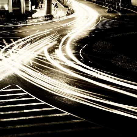 light trails on the street in shanghai ,China. photo