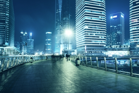 architectural architectonic: The beautiful night view of Shanghai,in China Stock Photo