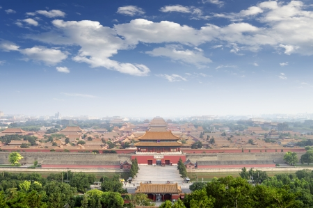 Aerial view of the Palace Museum in the Forbidden City, China