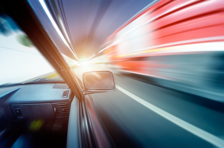 car on the tunnel wiht motion blur background photo