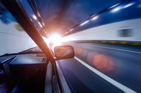 car on the tunnel wiht motion blur background Stock Photo