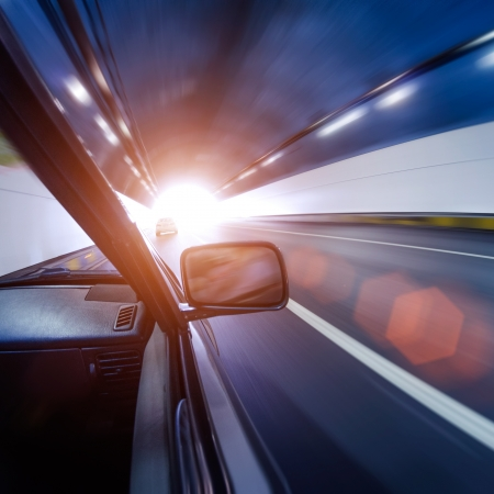 car on the tunnel wiht motion blur background Stock Photo - 14833040