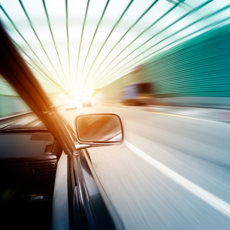 car on the tunnel wiht motion blur background Stock Photo - 14833036
