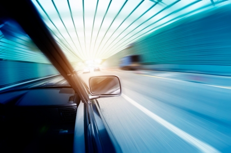 car on the tunnel wiht motion blur background Stock Photo - 14833045