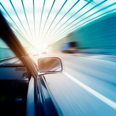 road tunnel: car on the tunnel wiht motion blur background Stock Photo